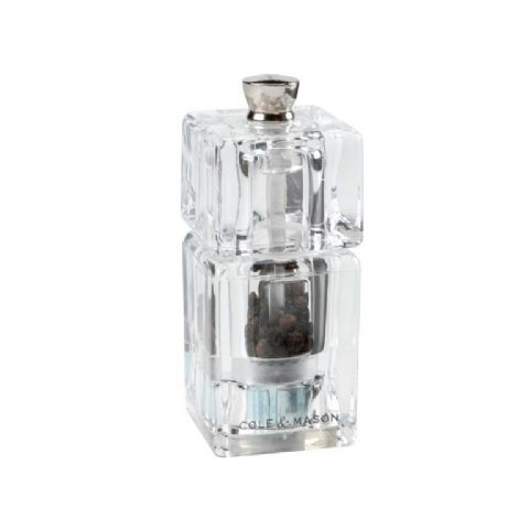 Cole & Mason Clear Acrylic Mini Cube Pepper Grinder Mill